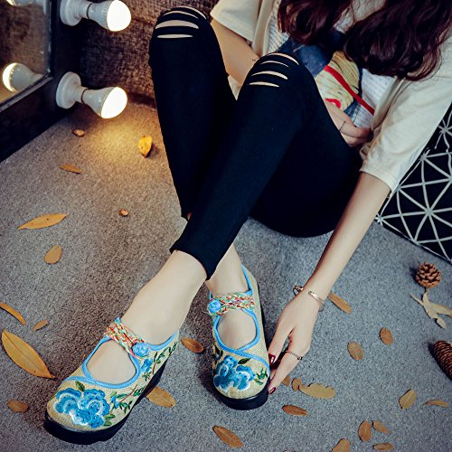 Blue Chinese Platform Shoes Womens Style Dress Wedge Embroidery Peony vwSngxqFB