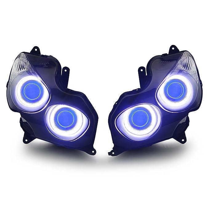 KT LED Angel Eye Asamblea de los faros para Kawasaki Ninja ...
