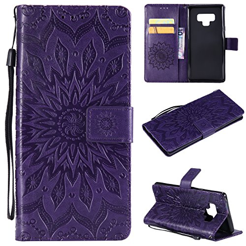 Leather Wallet Case for Samsung Galaxy Note 9 with Hand Strap,Gostyle Samsung Galaxy Note 9 Flip Magnetic Closure Purple Case Embossed Sunflower Pattern,Bookstyle with Card Slots Stand Cover