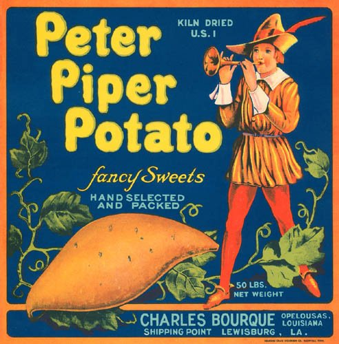 PETER PIPER POTATO FANCY SWEETS LOUISIANA USA CRATE LABEL CANVAS REPRODUCTION