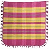 NOVICA Multicolor Hand Woven Cotton Bedspread, 'Pink Sunset' (twin)