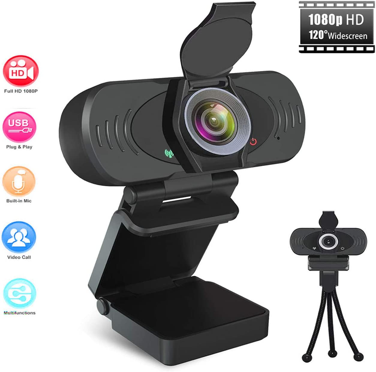 1080P Webcam with Microphone, Plug and Play HD Web Camera for Computer with 120-Degree Wide Angle, Multi-Compatible USB Webcam for PC Laptop Video Calling, Recording, Gaming, Conferencing