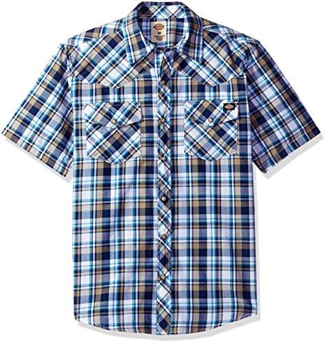 Sleeve Western Shirt, Desert Sand/Deep Blue, XXL (Short Sleeve Pearl Snap)