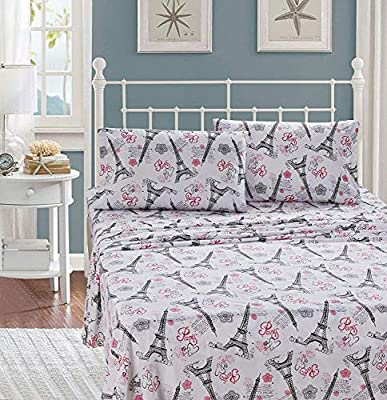 Luxury Home Collection Kids//Teens//Girls 7 Piece Full Size Comforter Bedding Set//Bed in A Bag with Sheets Floral Paris Eiffel Tower Flowers White Pink Grey Blue