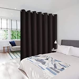 NICETOWN Room Dividers Curtain Screen Partitions, Patio Sliding Door Curtain, Wide Blackout Curtains, Keep Warm Draperies, Sliding Glass Door Drapes (1 Piece, 8.3ft Width x 7ft Length, Toffee Brown)