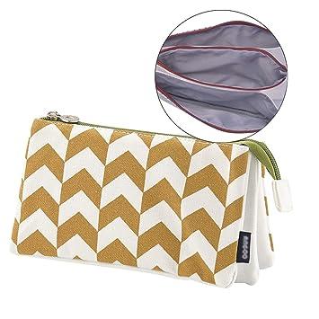 iSuperb Estuche Muje Estuche Escolar Niña Lápices Estuches Tres Pisos Bolso de Cosméticos Pencil Case (Khaki Wave)