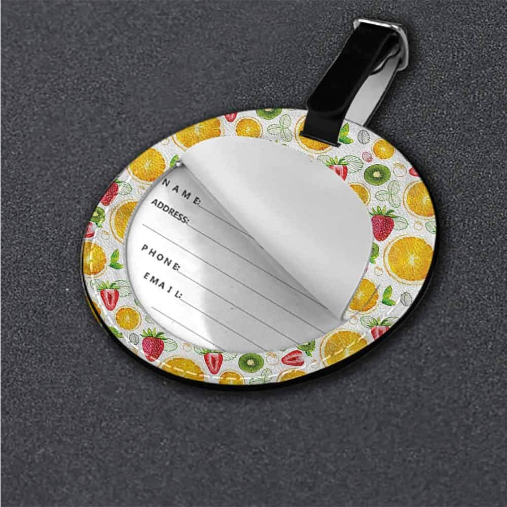 Round Leather Luggage Fruits,Grapefruit Slices Colorful Round Luggage Tags
