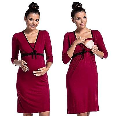 2 en 1 Vestido de Maternidad de Lactancia, Maternidad de enfermería camisón de algodón, Pijamas: Ropa y accesorios