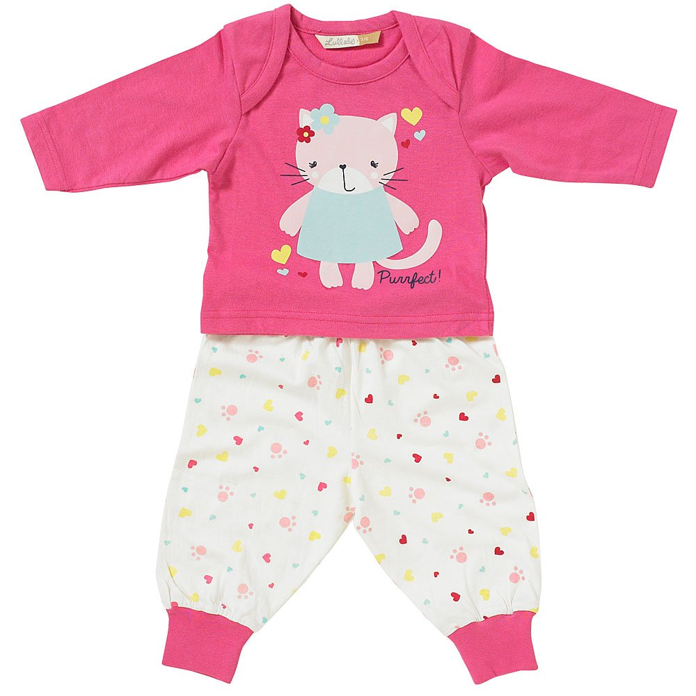 Lullaby Baby Girls Cute Pretty Kitten Long Pyjamas