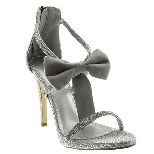Zapatos plateado Angkorly para mujer 6CoMw1ufq