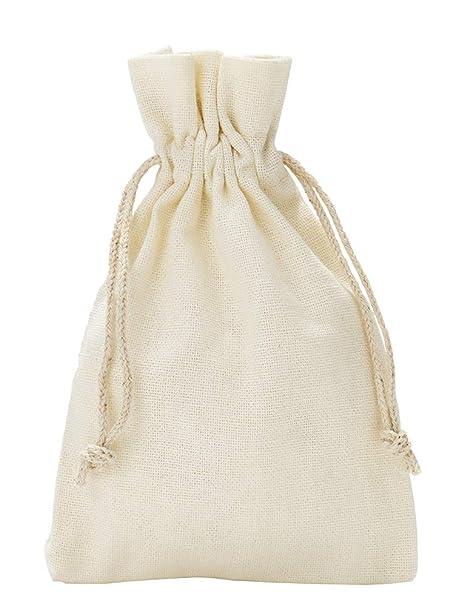 10 unidades bolsitas de algodón, bolsas de algodón, tamaño 30 x 20 cm con cordón para cerrar