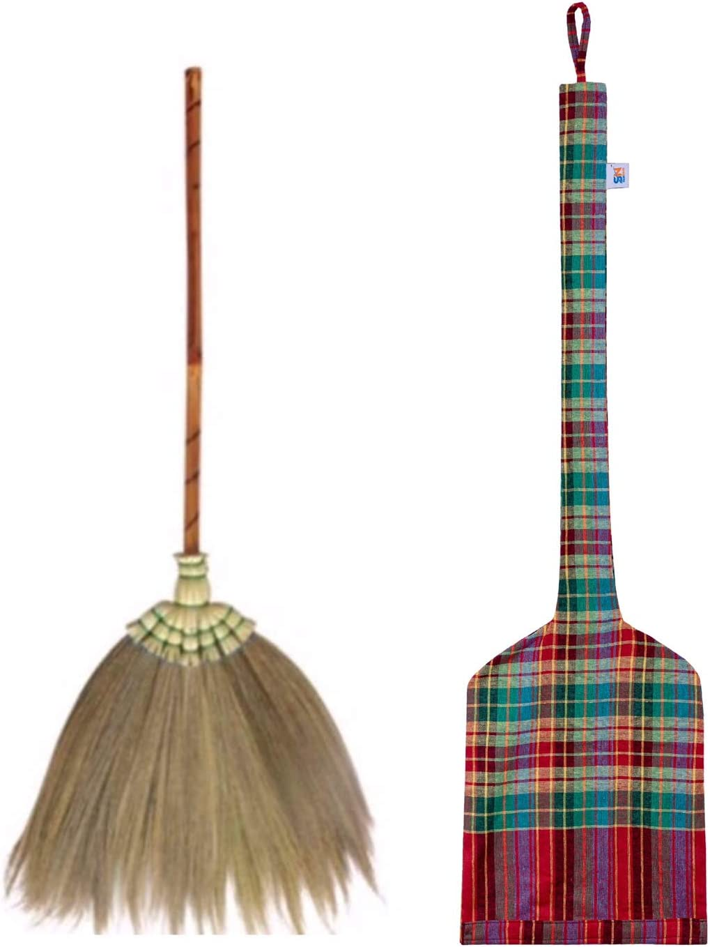 Natural Grass Broom Vintage Retro Made in Thailand, Handmade Broom, Housewarming Gift, Witch Broom, Thai Broom, Broomstick Bamboo Stick Handle, Kong Grass Broom, Durable Broom for Indoor & Outdoor
