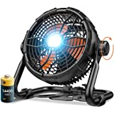 Outdoor Floor Fan with Light, 14400mAh 12-Inch Large Battery Operated Powered Fan, Portable Rechargeable Fan, Cordless High V