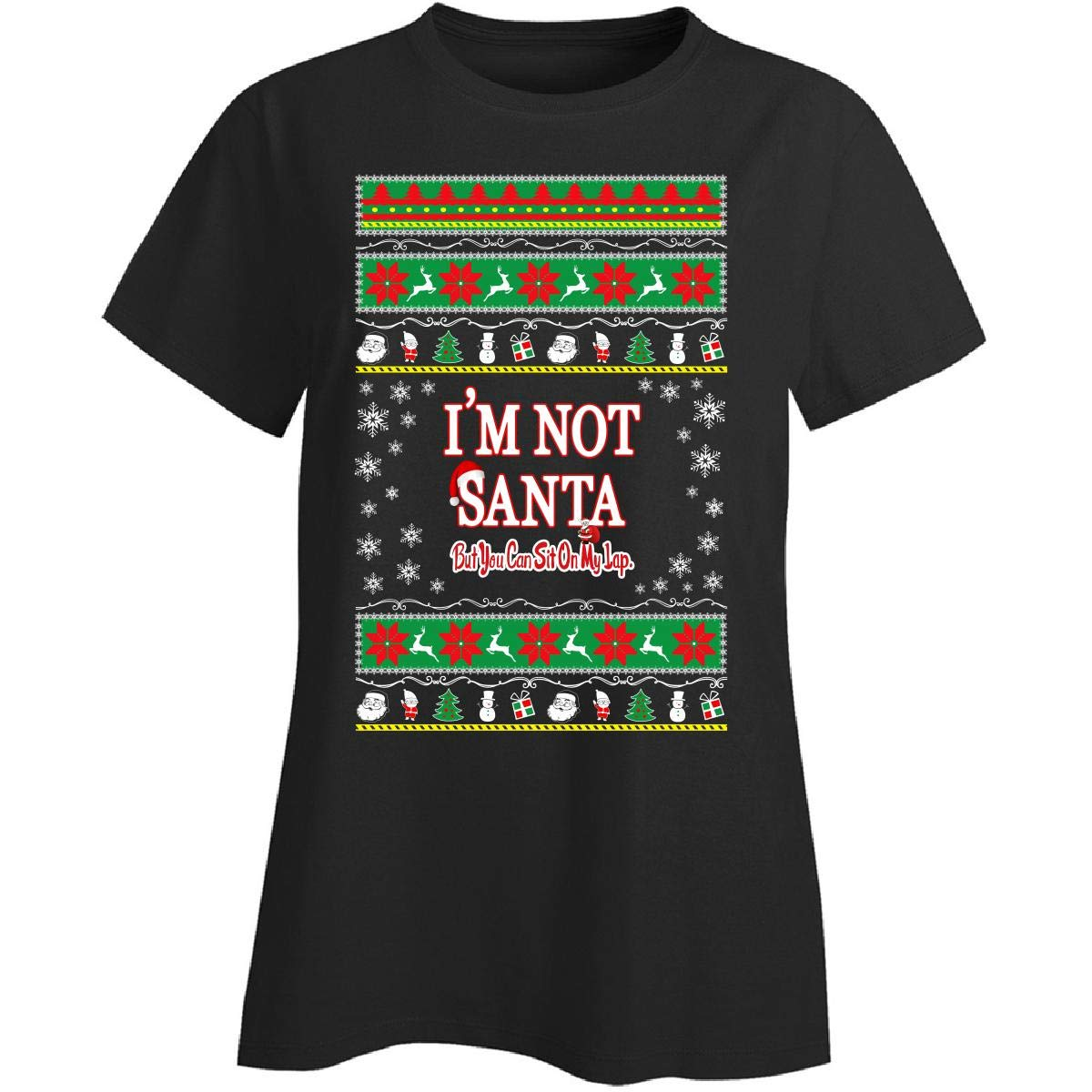 8580ae1d4 Ugly Christmas Sweater Gift Funny Novelty Im Not Santa Ttb1 - Ladies T-Shirt  at Amazon Women's Clothing store: