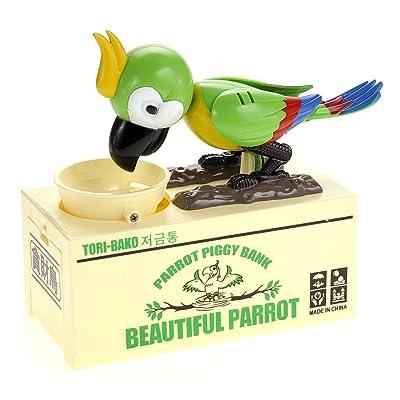 PowerTRC Beautiful Parrot Coin Saving Bank | Piggy Bank | Money Box for Kids | Robot Bird | Green: Toys & Games