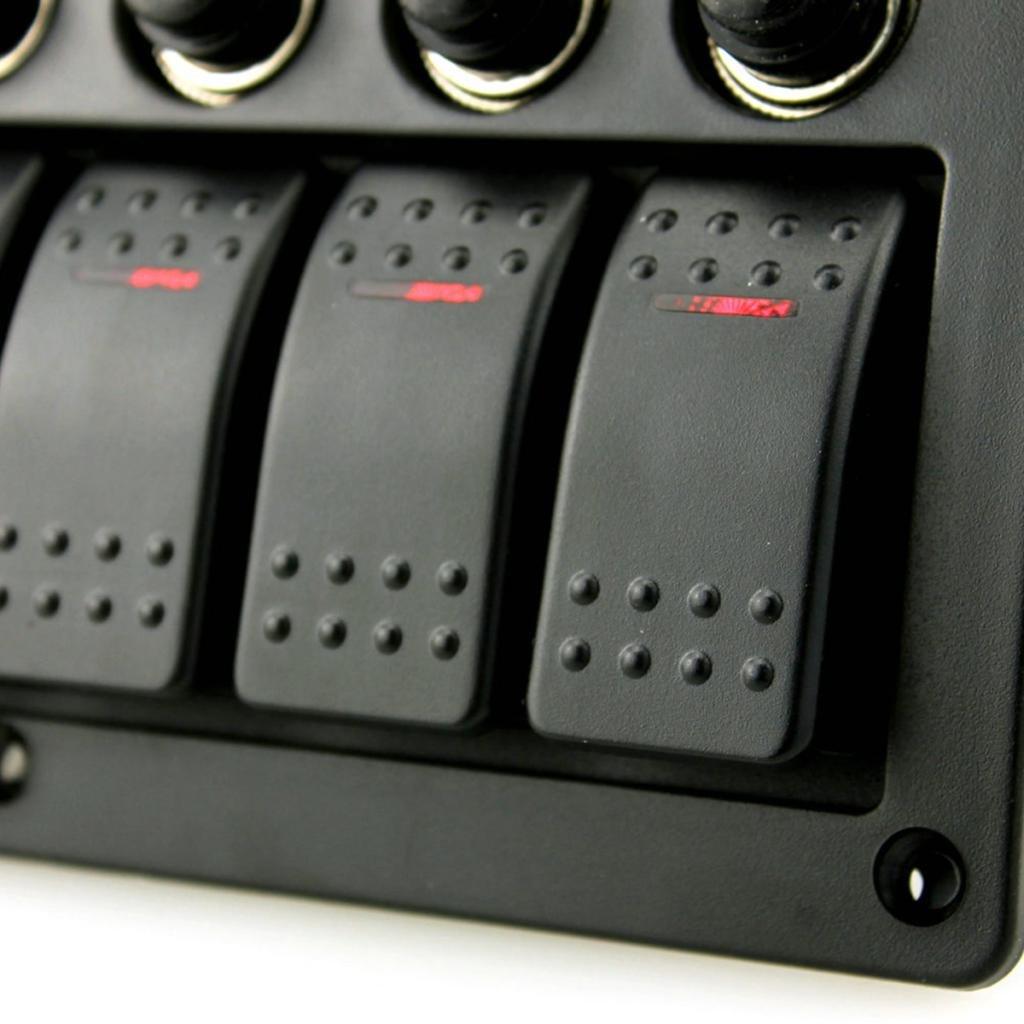 Dolity Schalttafel Schaltpanel 6-fach 12 24 Volt mit LED Inndikator Bootszubeh/ör