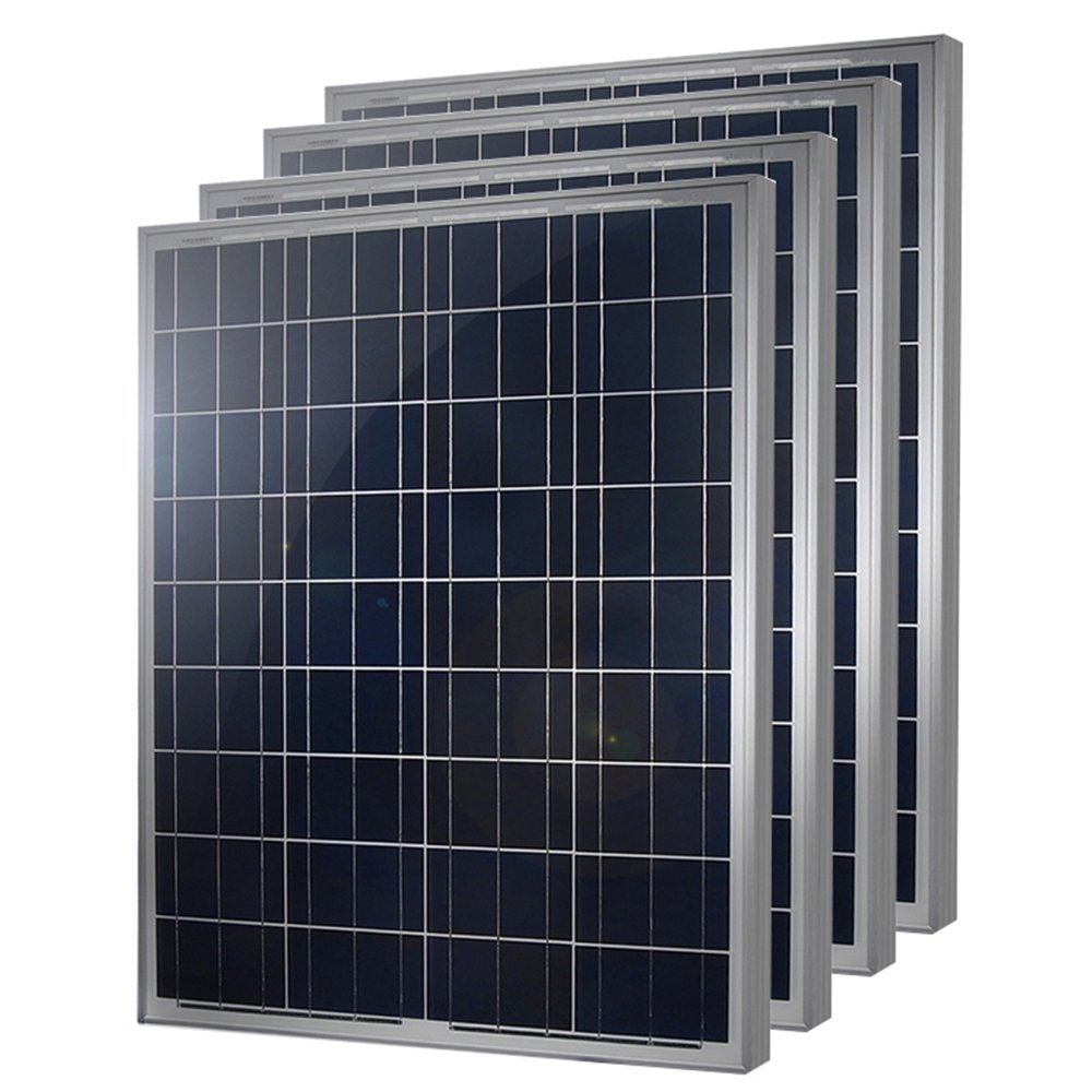 HQST 100 Watt 12 Volt Polycrystalline Solar Panel 4 Pieces