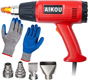 Heat Gun 2000w Hot Air Gun Tool Kit (4 Nozzles and Heat Resistant Gloves) with Dual Temperature Modes for Wrapping Crafts Stripping paint Soldering Pipes Shrinking PVC Removing Paint