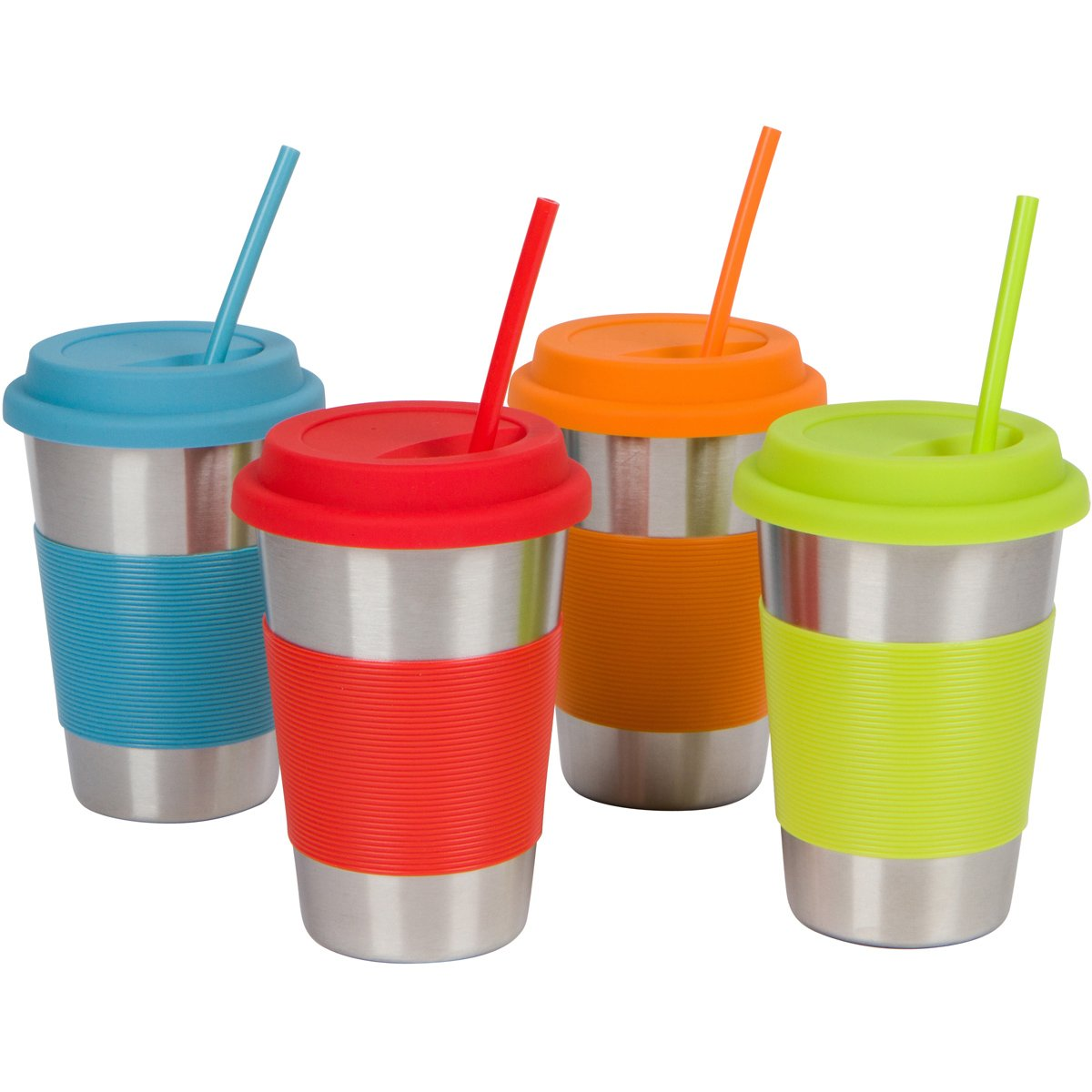 To-Go Stainless Steel Cups with Silicone Lids, Sleeves and Straws, 16 oz (1 Pint) Stainless Steel Tumblers by Steelware (Set of 4)