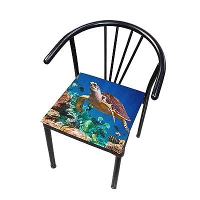 Bardic FICOO Home Patio Chair Cushion Ocean Animal Turtle Coral Square Cushion Non-Slip Memory Foam Outdoor Seat Cushion, 16x16 Inch: Home & Kitchen