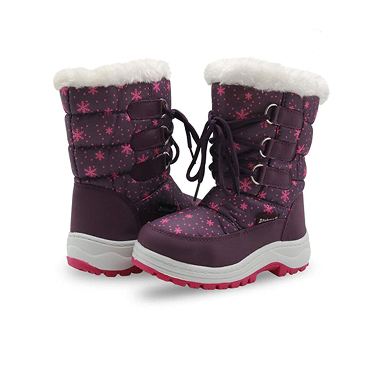 LLBubble Boys Girls Outdoor Waterproof Kid Boots Lace-up Cold Weather Snow Boots