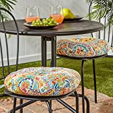 Greendale Home Fashions 15 in. Round Outdoor Bistro Chair Cushion in Painted Paisley (set of 2), Jamboree
