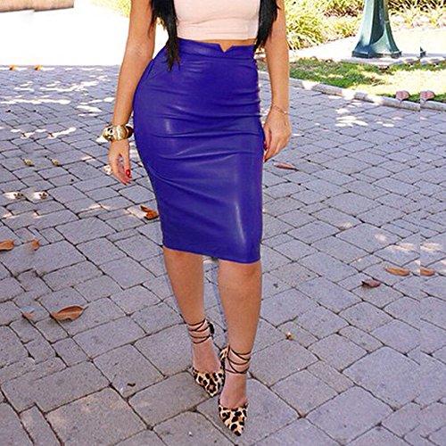 Brillant Mini Faux Bleu Cuir Moulante Skinny Crayon Look Wet Extensible Femmes Jupes Taille wCp50Tq4