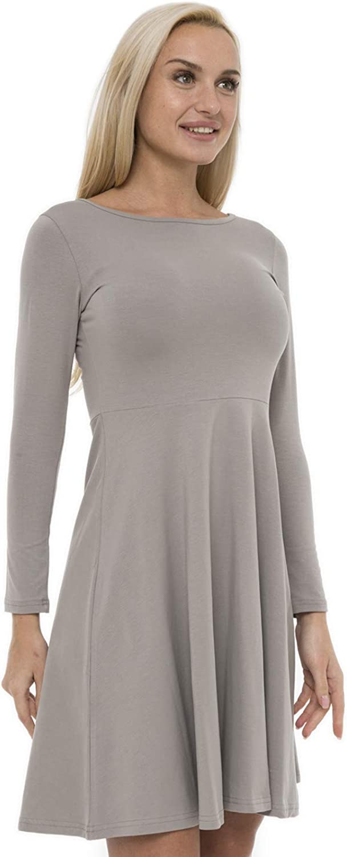 ABAKUHAUS Womens Long Sleeve Casual Skater Dress A-Line