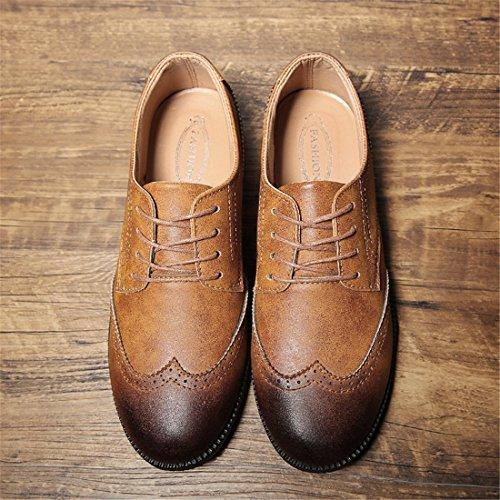 Mens Tillfälligt Arbete Spets-up Klassiska Flerfärgade Läder Vintage Oxford Skor C16 Gulbrun