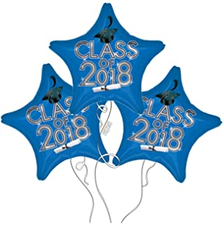 Graduation Cap Class of 2018 Star Mylar Balloons in Blue - 3 Pack