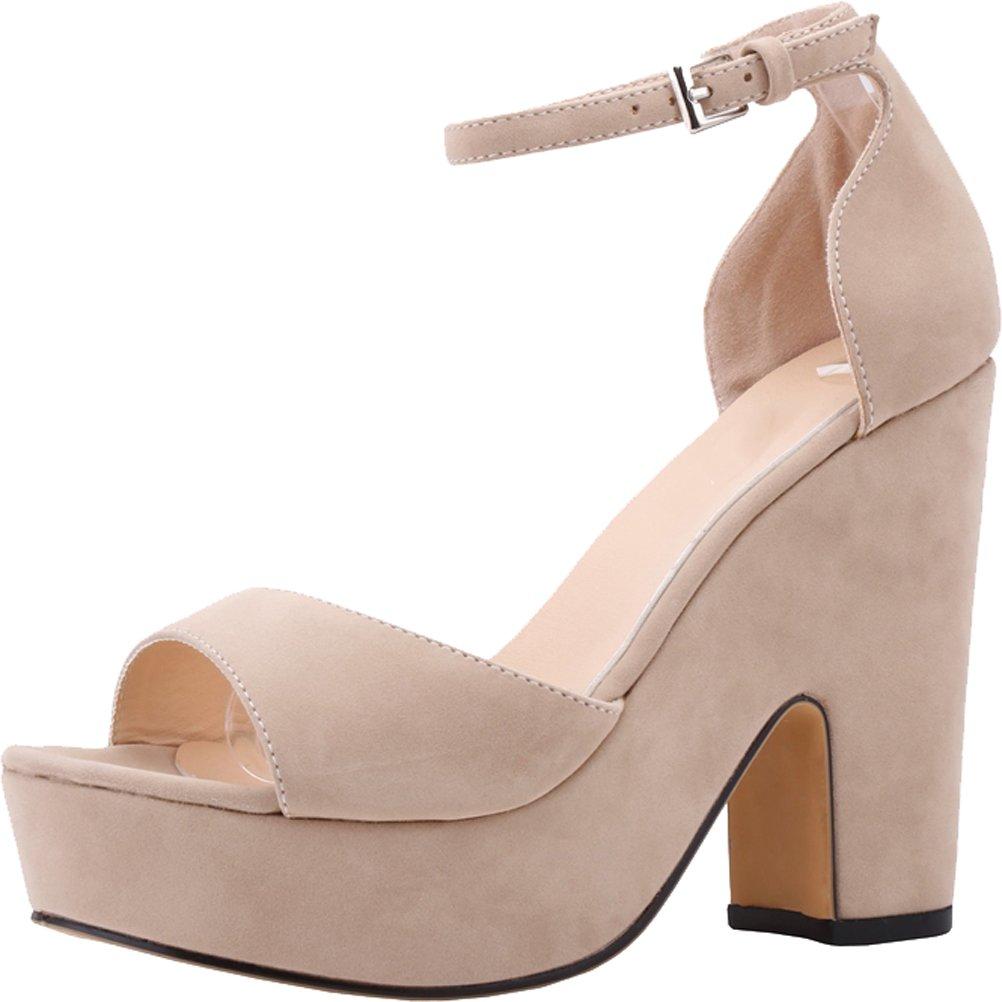 Salabobo Womens Sexy Fashion Night Club Party Platform Heighten Block Heel Wedges Cloth Sandal B01LZ5B4M4 7.5 B(M) US|Nude