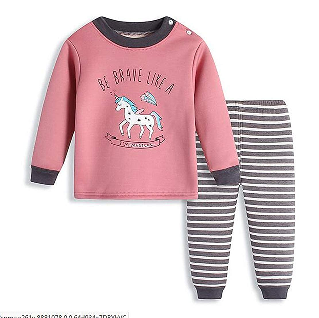 CX.AZUL Girls Winter 2pcs Long Sleeve Warm Button Sleeper Pajamas Pants Suit Set