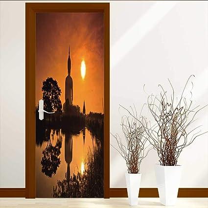 amazon com leighhome door wall mural wallpaper stickers yoga throwleighhome door wall mural wallpaper stickers yoga throw big giant statue by the river at sun