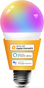 Smart Light Bulbs Apple HomeKit - Color Changing Smart Bulbs Compatible with Siri, Alexa and Google Home, A19 LED Bulb, E26 Fitting, 2700K-6500K Dimmable, 9W 810 Lumens, 1 Pack