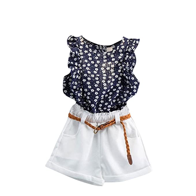 cc1657c15192e FeiliandaJJ Girls Clothes Set, 3Pcs Baby Kids Summer Cute Floral Printed  Sleeveless T-Shirt