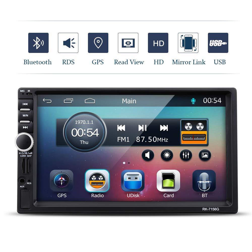 VETOMILE Autoradio Bluetooth, Autoradio 2 DIN 7' HD 1080P Touch Screen, GPS Navigazione Radio FM/AM, USB/Scheda TF/AUX,Supporta la Funzione di Ricarica 5V 2.1A,Nero Autoradio 2 DIN 7 HD 1080P Touch Screen