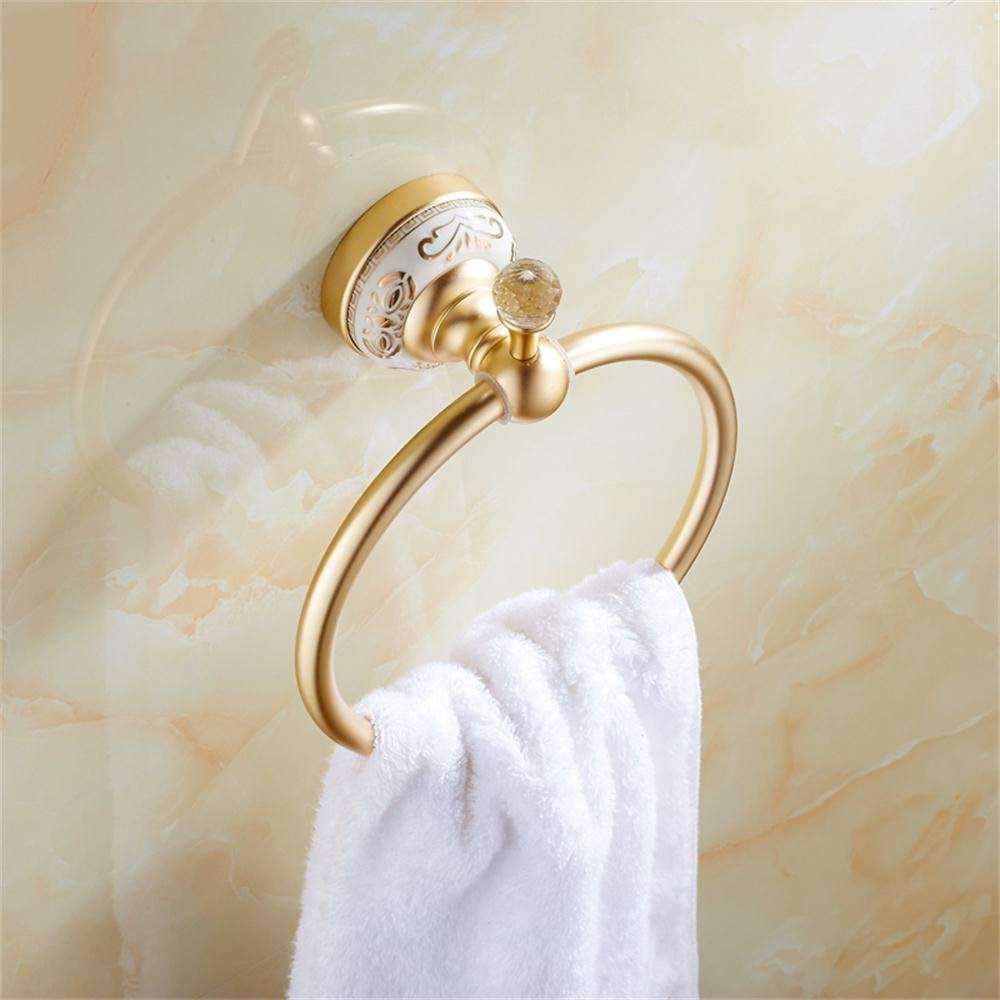 TOYM US- European matte gold ring towel ring towel rack space aluminum towel hanging ring