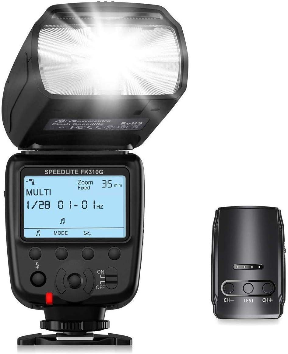 Powerextra Pantalla LCD Flash Speedlite, 2.4G Kit de Transmisor de Disparador de Flash Inalámbrico para Canon Nikon Pentax Panasonic Olympus y Sony DSLR Cámara, Cámaras Digitales con Zapata Estándar