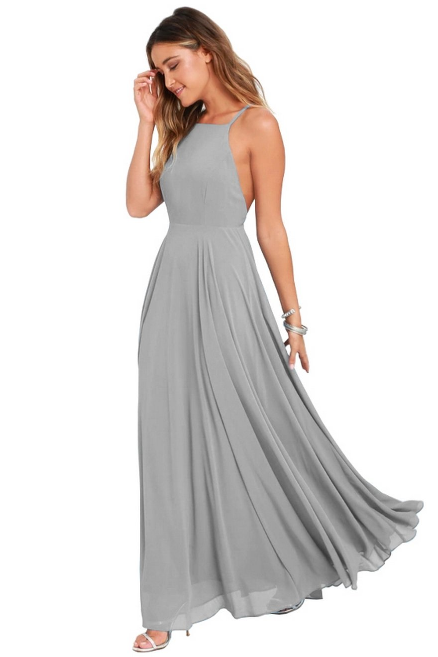 Formal Evening Dresses Long Women Elegant Gray Scoop Neck Chiffon Empire Backless Party Gown,Gray,2
