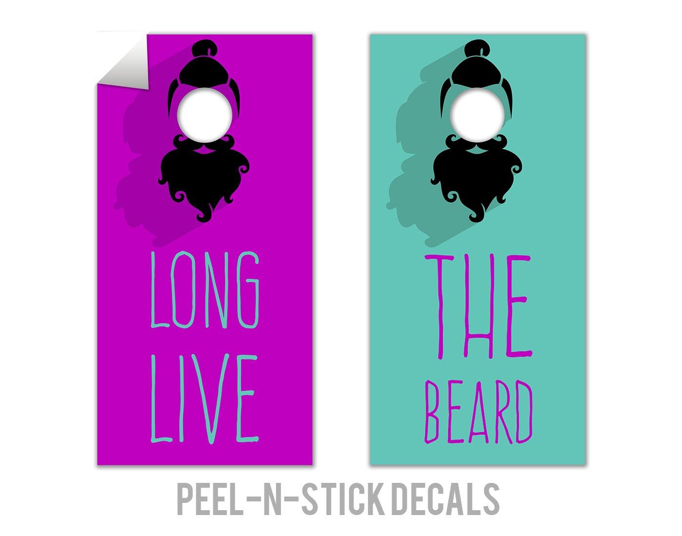 2 Piece Long Live the Beard Cornholeボードデカールセット