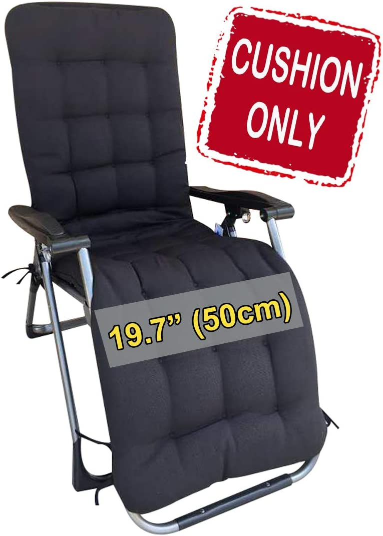 "Four Seasons BeiJiaEr {Cushion ONLY} for Regular (Seat Width: 19.7"") Zero Gravity Chair Lounge Recliner Rocking Garden Patio Seat Pad Mat Cushion (Hood and tie Down) (Black)"