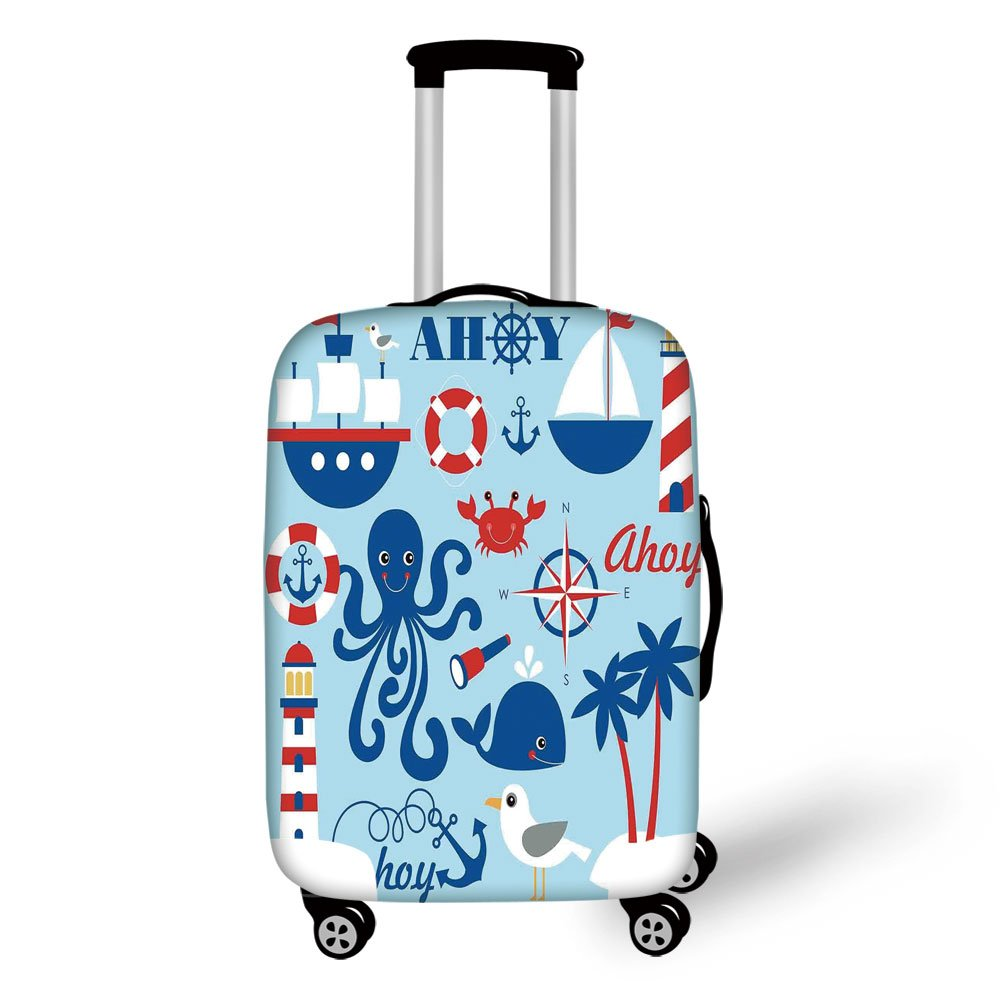 Travel Luggage Cover Suitcase Protector,Nautical Decor,Cute Cheerful Sea Objects Collection Palm Trees Octopus Spyglass Sea Gull,for Travel