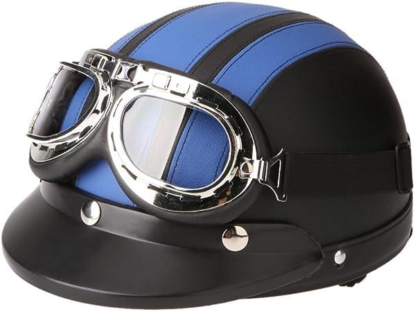 Kkmoon Motorrad Roller Open Face Halbes Leder Helm Winter Winddichter Helm Mit Visier Uvschutzbrille Retro Vintage Style 54 60cm Blau Auto