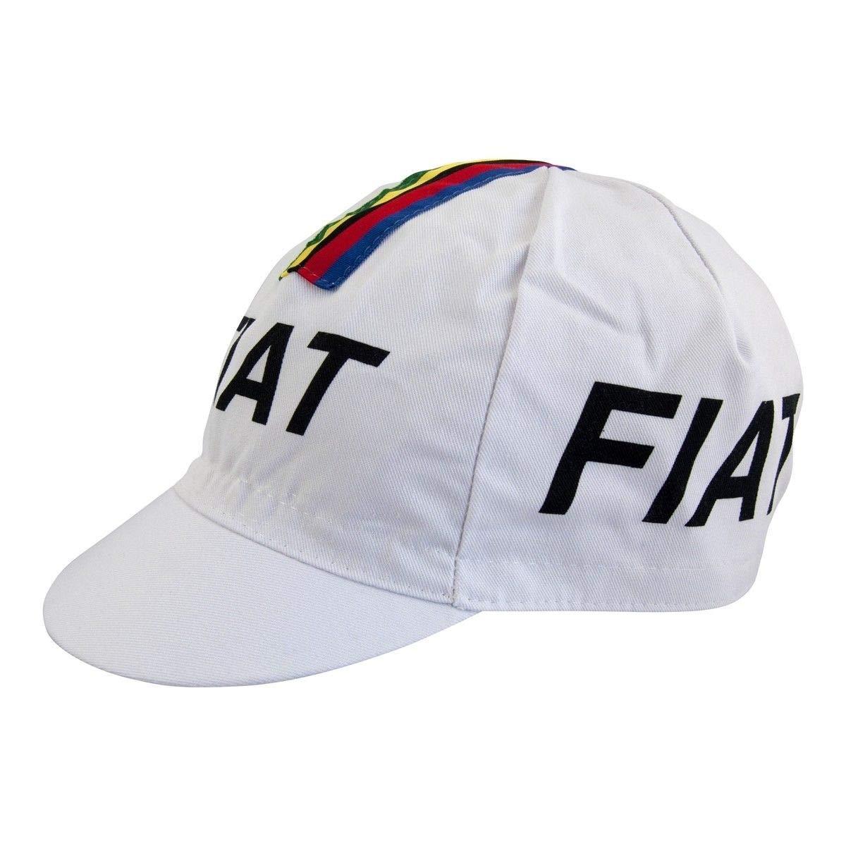 1d38ec27e94 Amazon.com   Eddy Merckx Fiat World Champion Cycling Cap - White With  Rainbow Bands Stripes   Sports   Outdoors
