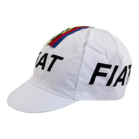 Image Unavailable. Image not available for. Color  Eddy Merckx Fiat World  Champion Cycling Cap - White With Rainbow Bands Stripes afb6586d4