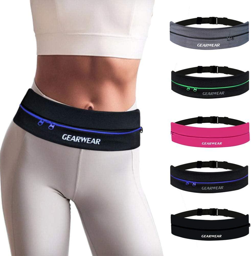 GEARWEAR Running Belt Phone Holder Runner Waist Band Pocket for Workout Fitness Walking Jogging Exercise Sport Gym for iPhone 11 XR XS MAX 8 Plus Samsung Women Men