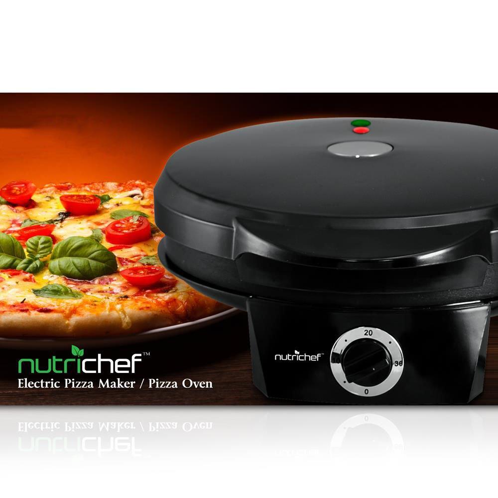 NutriChef PKPZM12_0 0 Pizza Maker, 7.53 lbs, Black