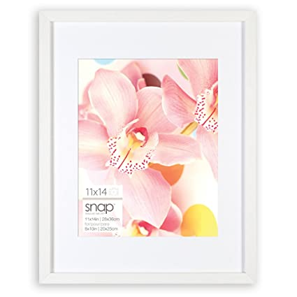 Amazon.com: Snap 11x14 White Wood Wall Frame with Single White Mat ...