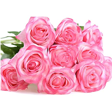 Evoio Artificial Roses Flowers Diy Bridal Bouquet Silk Mini Roses Bouquet Fake Silk Plastic Curl Flowers 10 Heads Office Home Garden Party Wedding