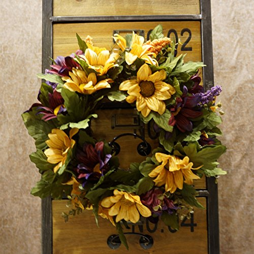 Decorative Seasonal Front Door Wreath Best Seller - Handcrafted Wreath for Outdoor Display in Fall, Winter, Spring, and Summer 13 inches (Purple + autumn (Seasonal Door)